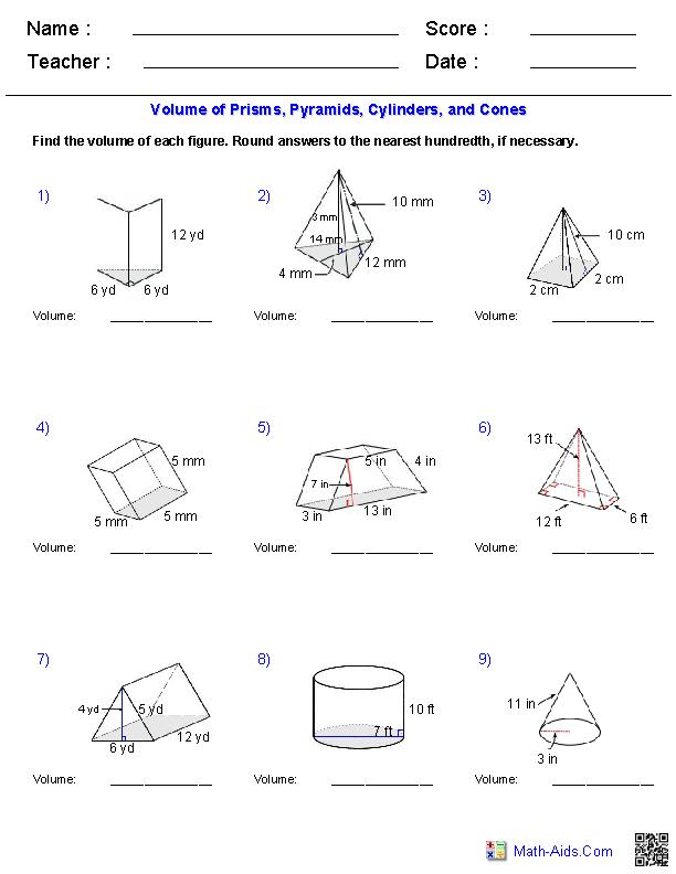 Geometry Worksheets Surface Area Volume Worksheets