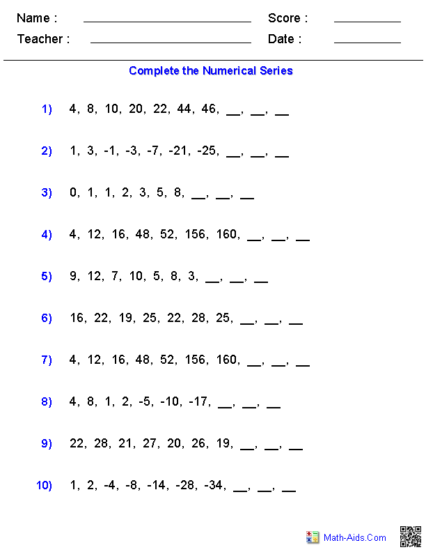 sequences and patterns worksheet - patterns and sequences worksheets ...