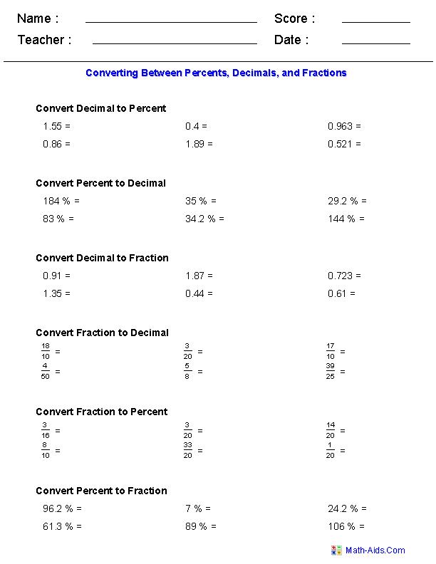 Percent Worksheets Percent Worksheets For Practice