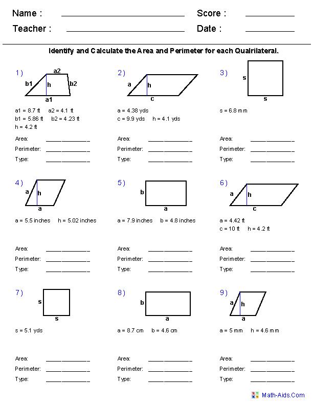 Geometry Worksheets Area And Perimeter Worksheets