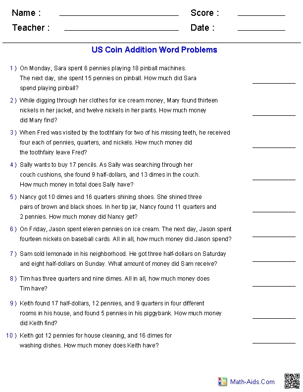 Word Problems Worksheets Dynamically Created Word Problems