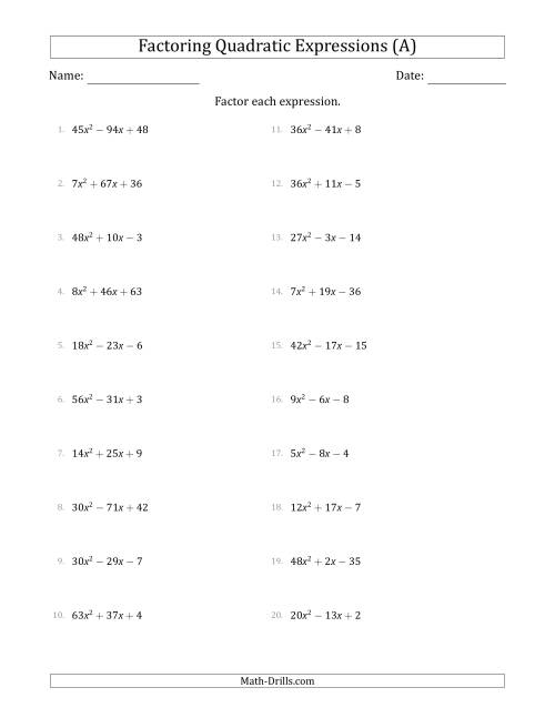Factoring Quadratic Expressions With A Coefficients Up