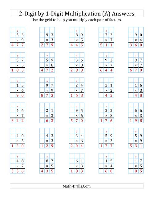 2 Digit By 1 Digit Multiplication With Grid Support A