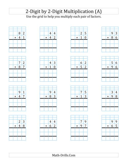 2 Digit By 2 Digit Multiplic Ti With Grid Supp T