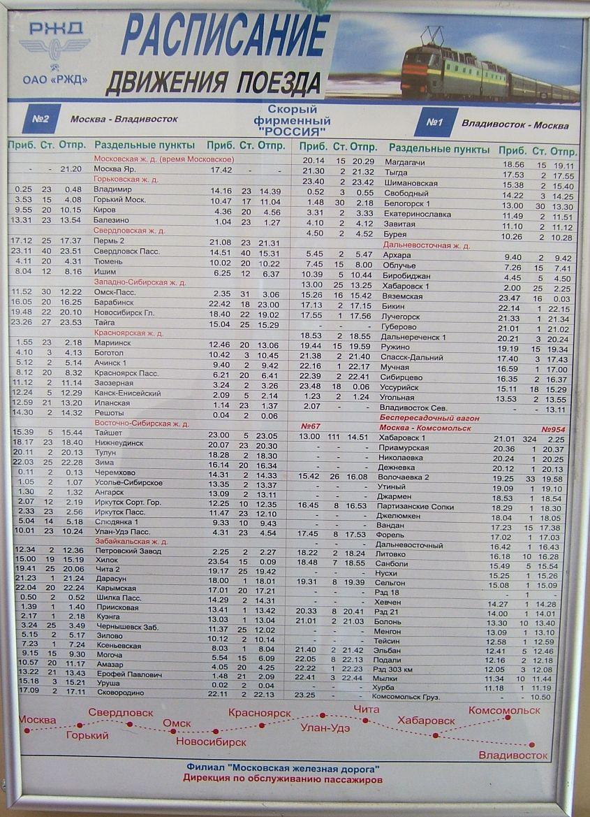 Fahrplan Moskau--Wladiwostok
