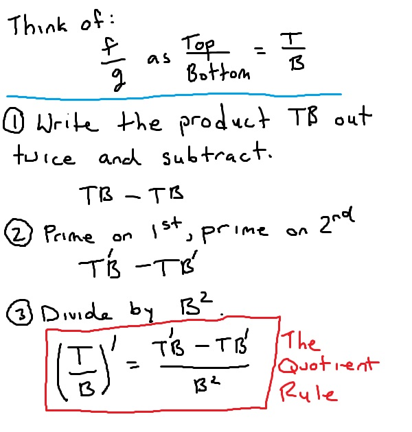 Trick to remember the quotient rule. Think of the numerator as the top and the denominator as the bottom. Write the product TB out twice and subtract. Then, prime on the first and prime on the second (this gives you T prime B minus T B prime. Then, divide by B squared.