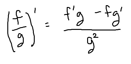 The quotient rule. For f over g, it is numerator f prime g minus f g prime and denominator g squared.