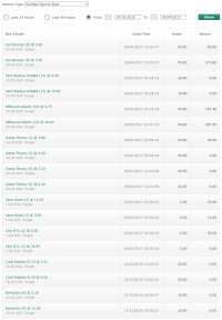 A list of bets placed on Bet365