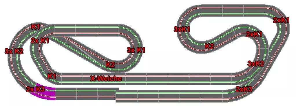 Carrera Digital Streckenplan 17,80m
