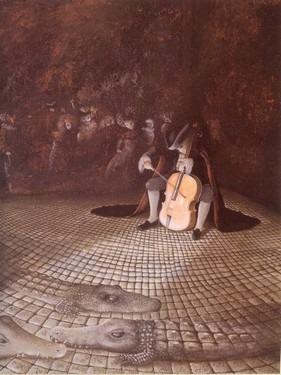 Il violoncellista alle prese con il violoncello