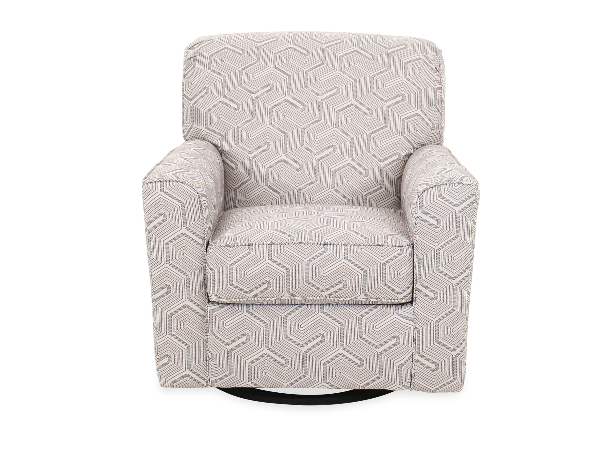 Geometric Patterned Contemporary 36 Swivel Accent Chair In Graphite Mathis Brothers Furniture