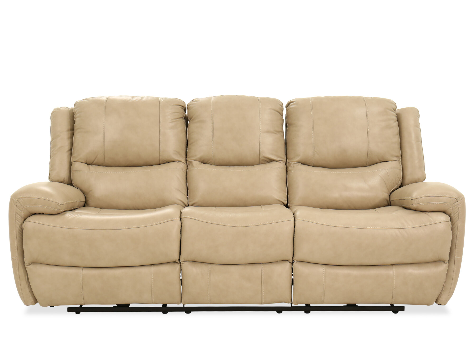 Leather Power Reclining Sofa In Stone Mathis Brothers