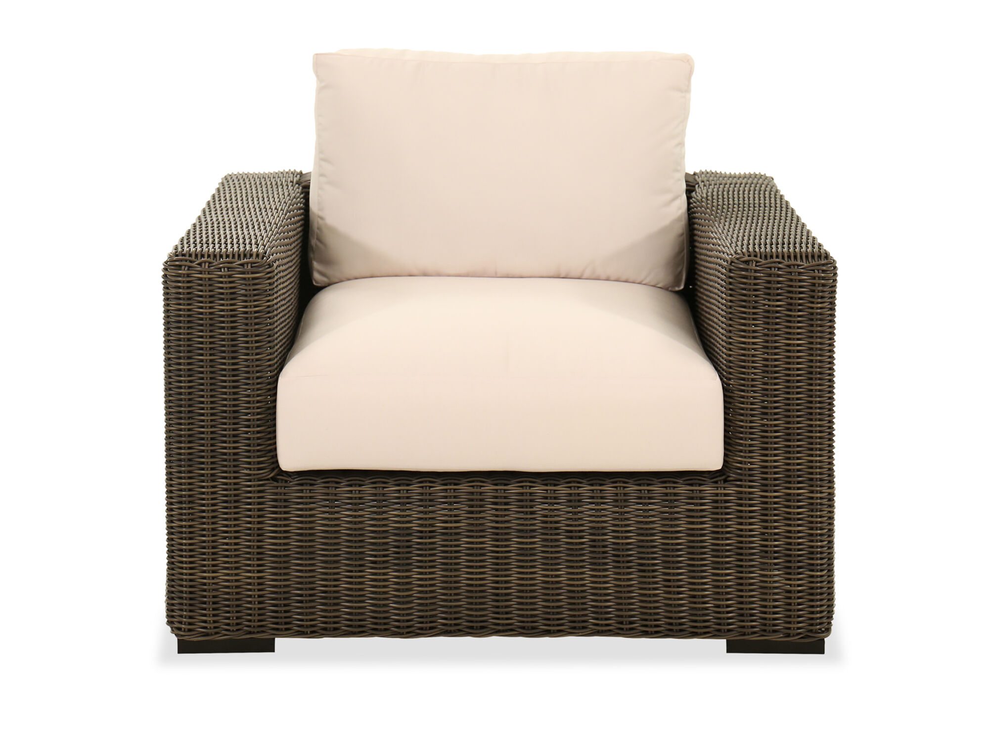 contemporary woven patio chair in brown