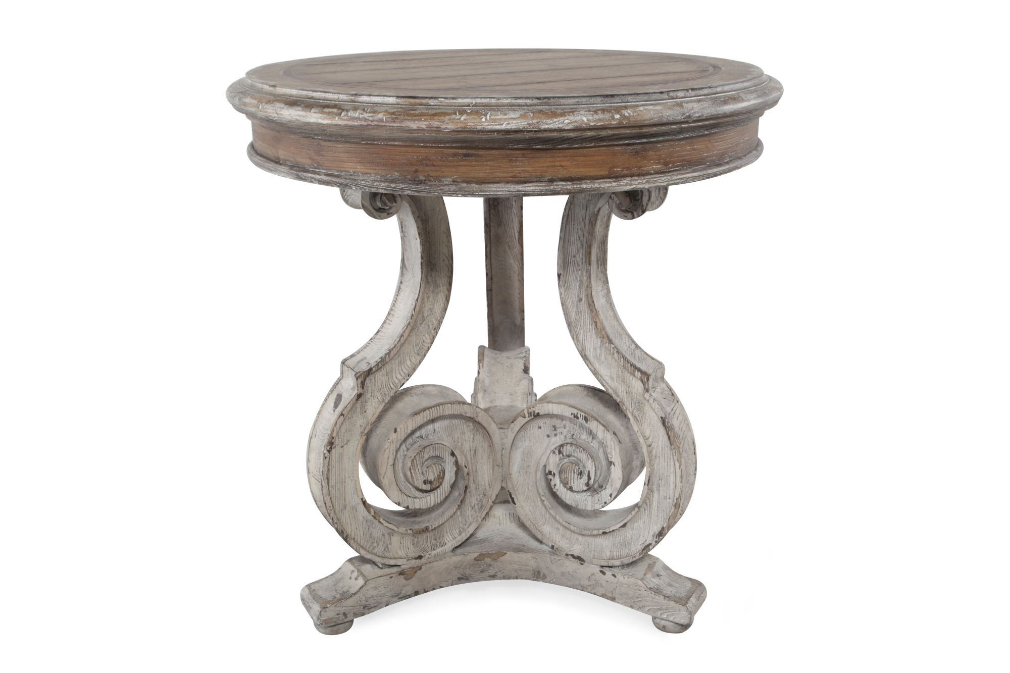 Traditional Scroll Accent Table In Light Wood Mathis