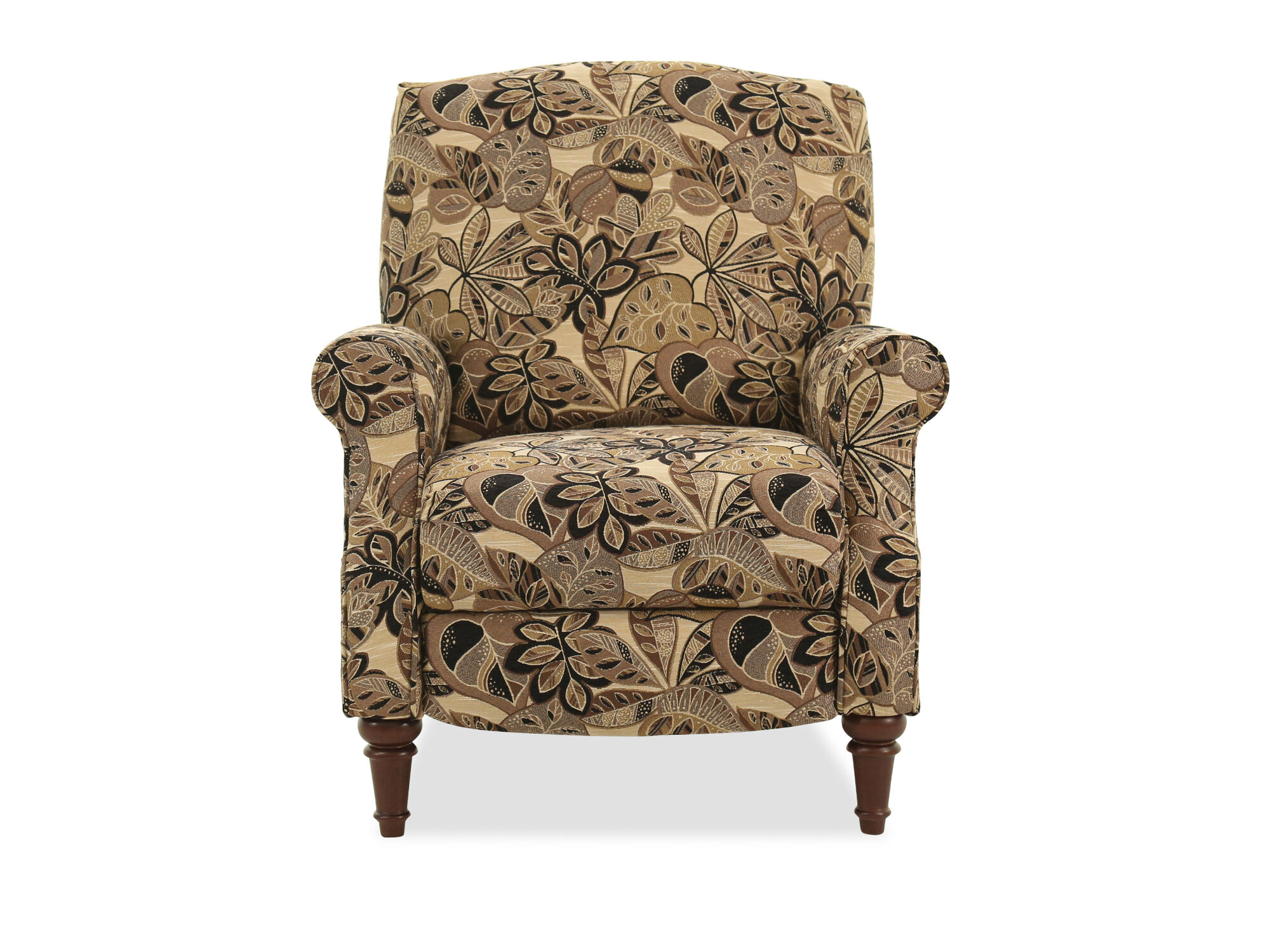Floral Patterned 32 High Leg Pressback Recliner In Brown