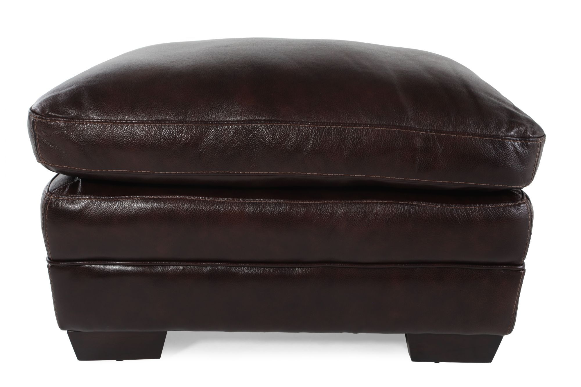 Contemporary 31 Leather Ottoman In Brown Mathis