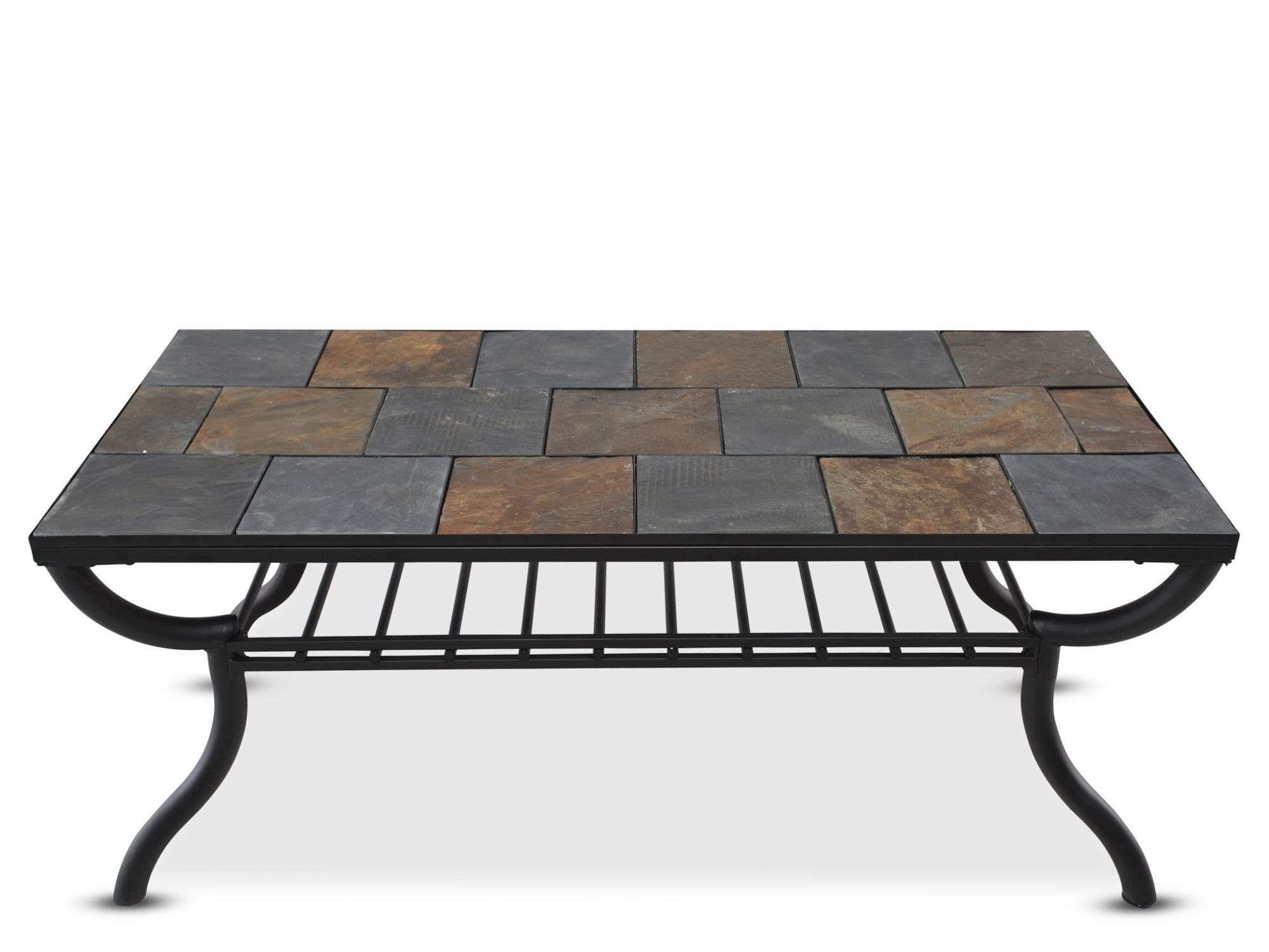 Tile Top Rectangular Cocktail Table In Gunmetal Mathis