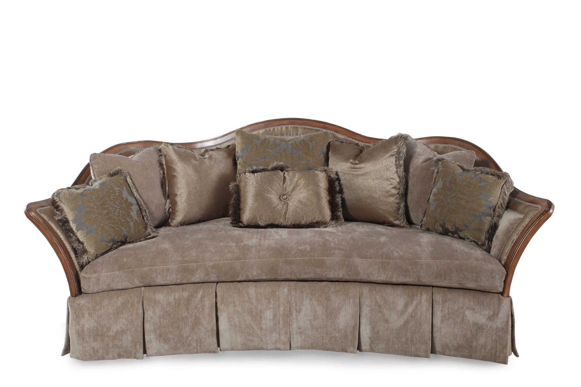 Traditional Skirted 1015 Sofa In Light Brown Mathis