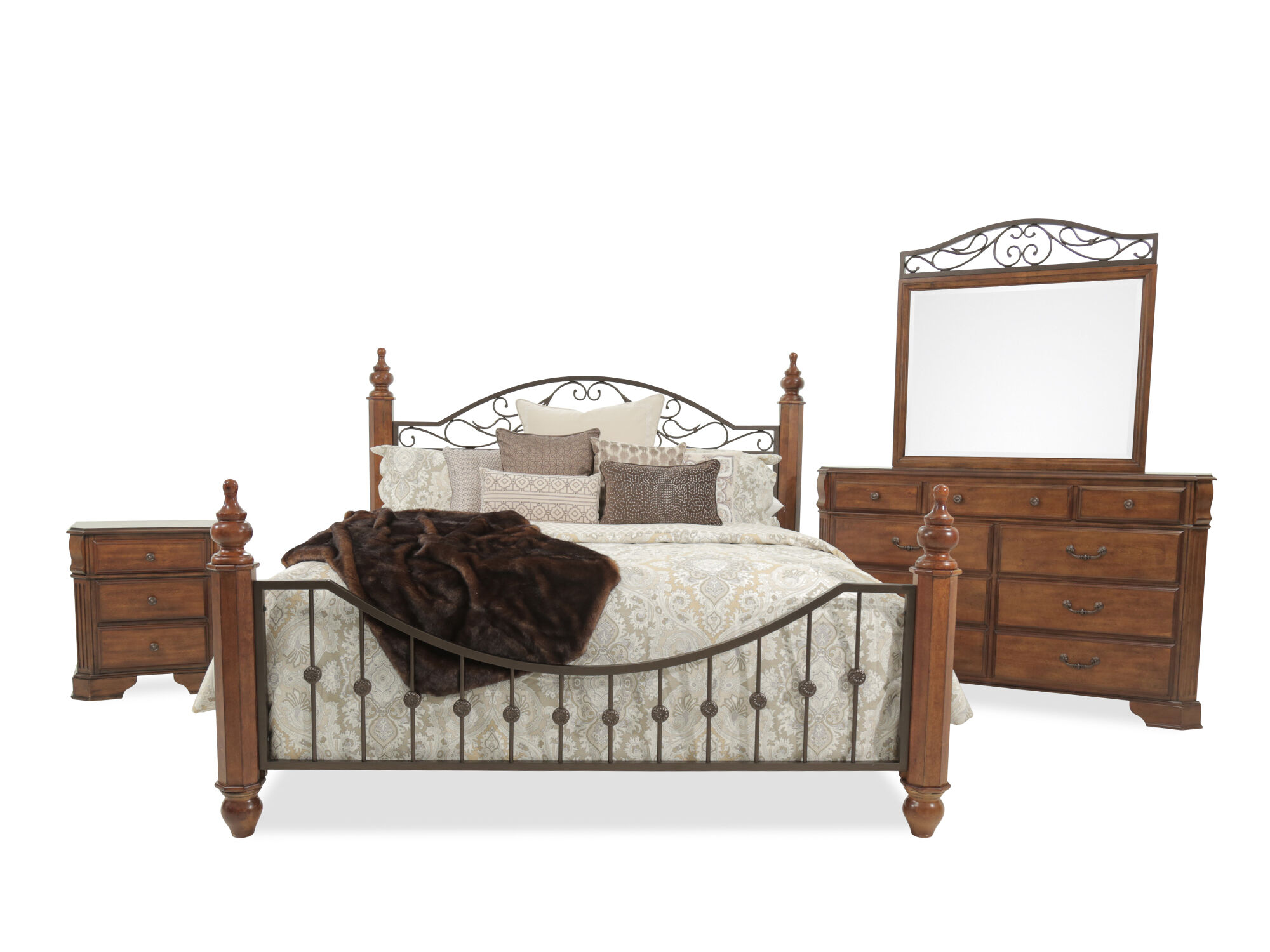 Four Piece Country Bedroom Set In Cherry Mathis Brothers
