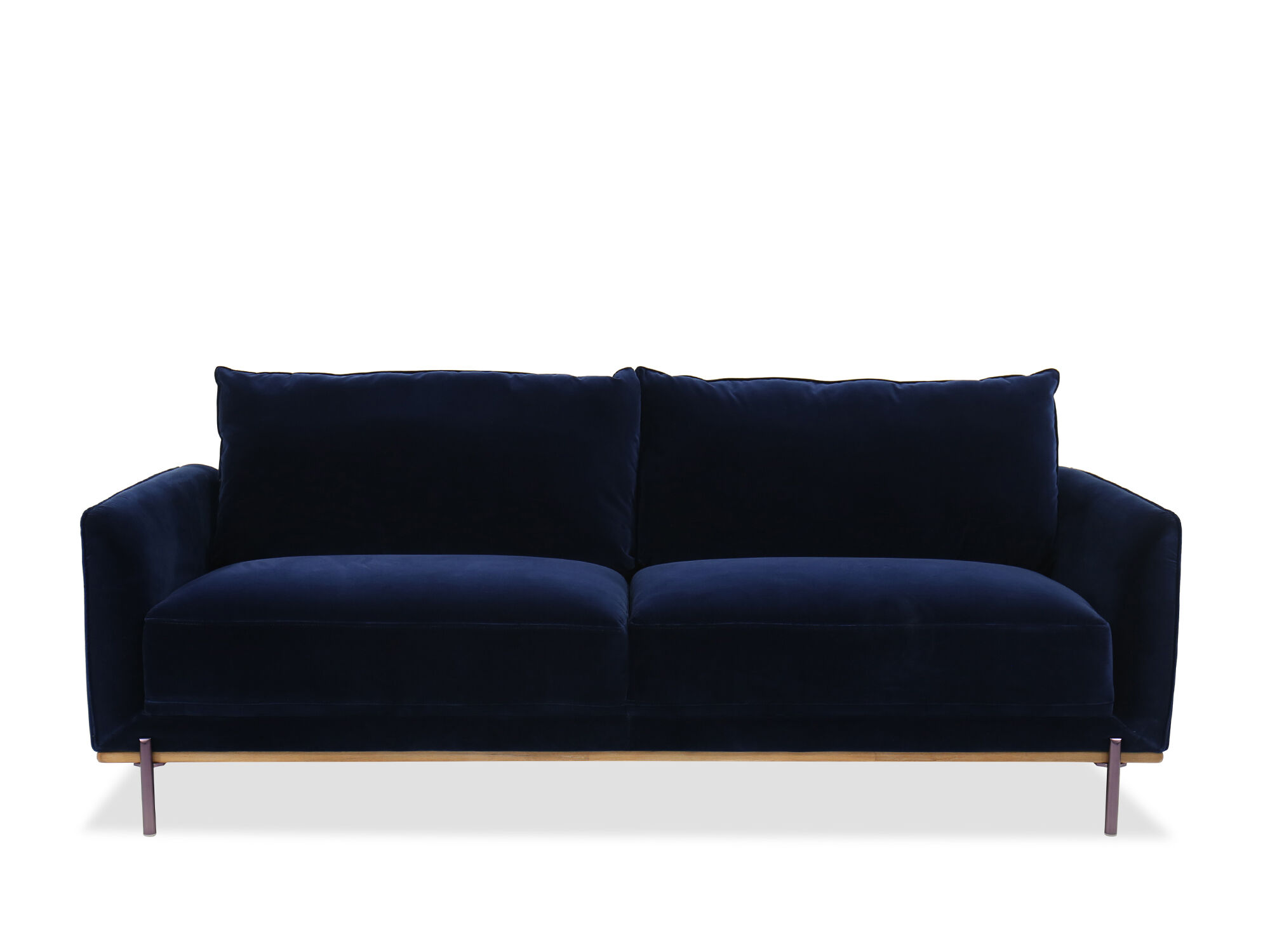 Casual Velvet Sofa In Blue Mathis Brothers Furniture