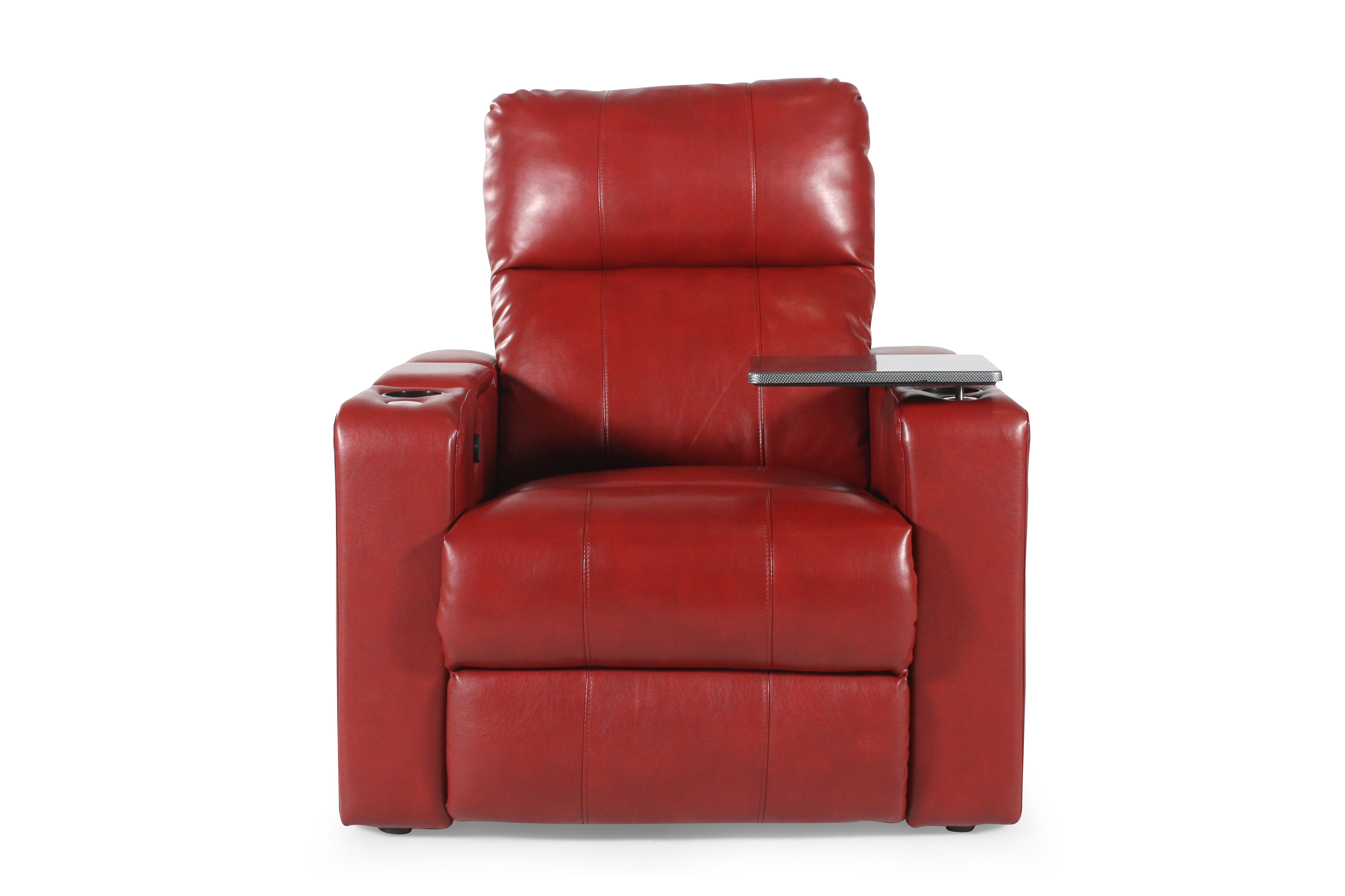 Traditional Home Theater Power Recliner In Red Mathis Brothers Furniture