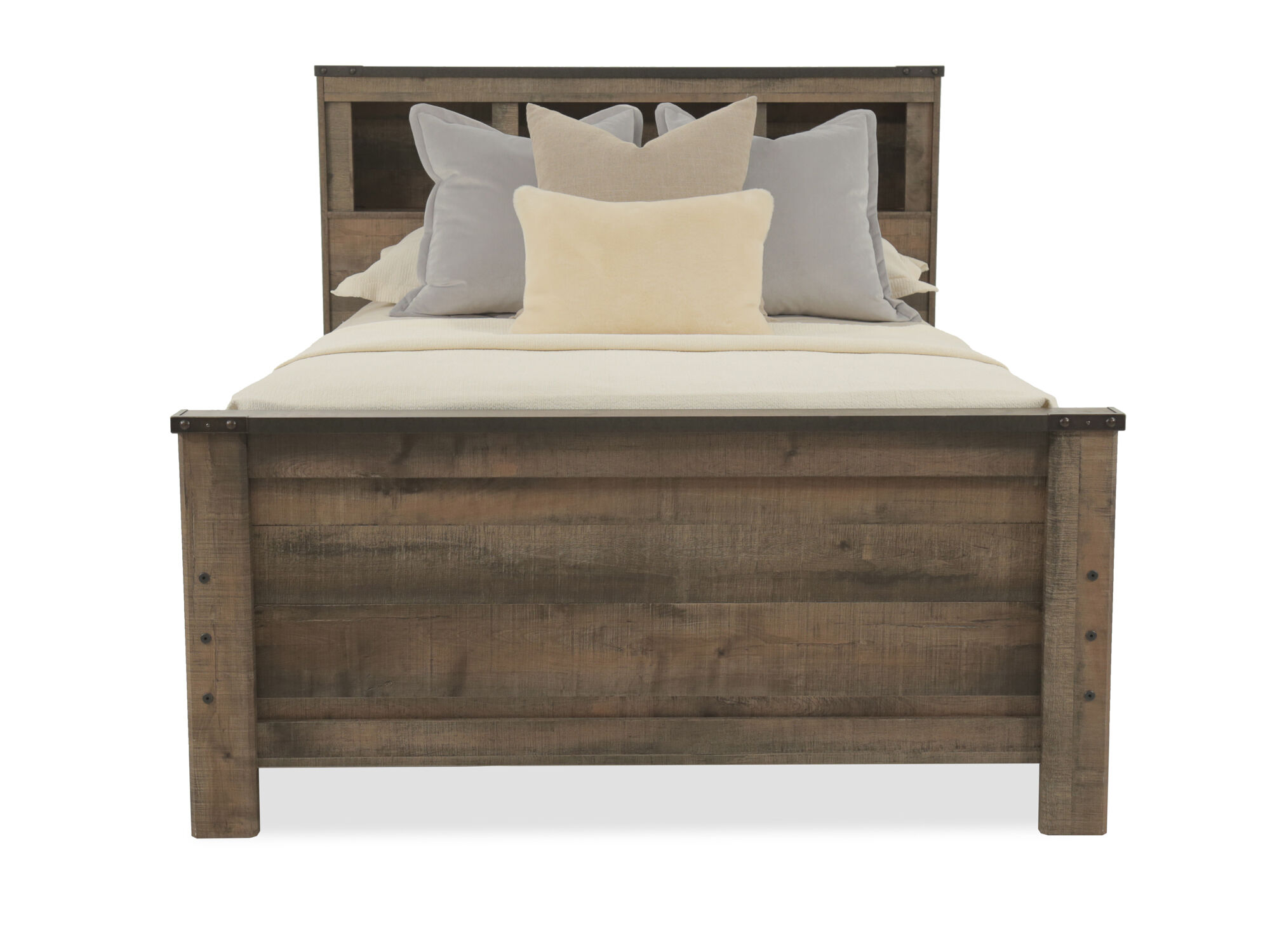 Rustic Farmhouse Planked Youth Bookcase Bed With Storage In