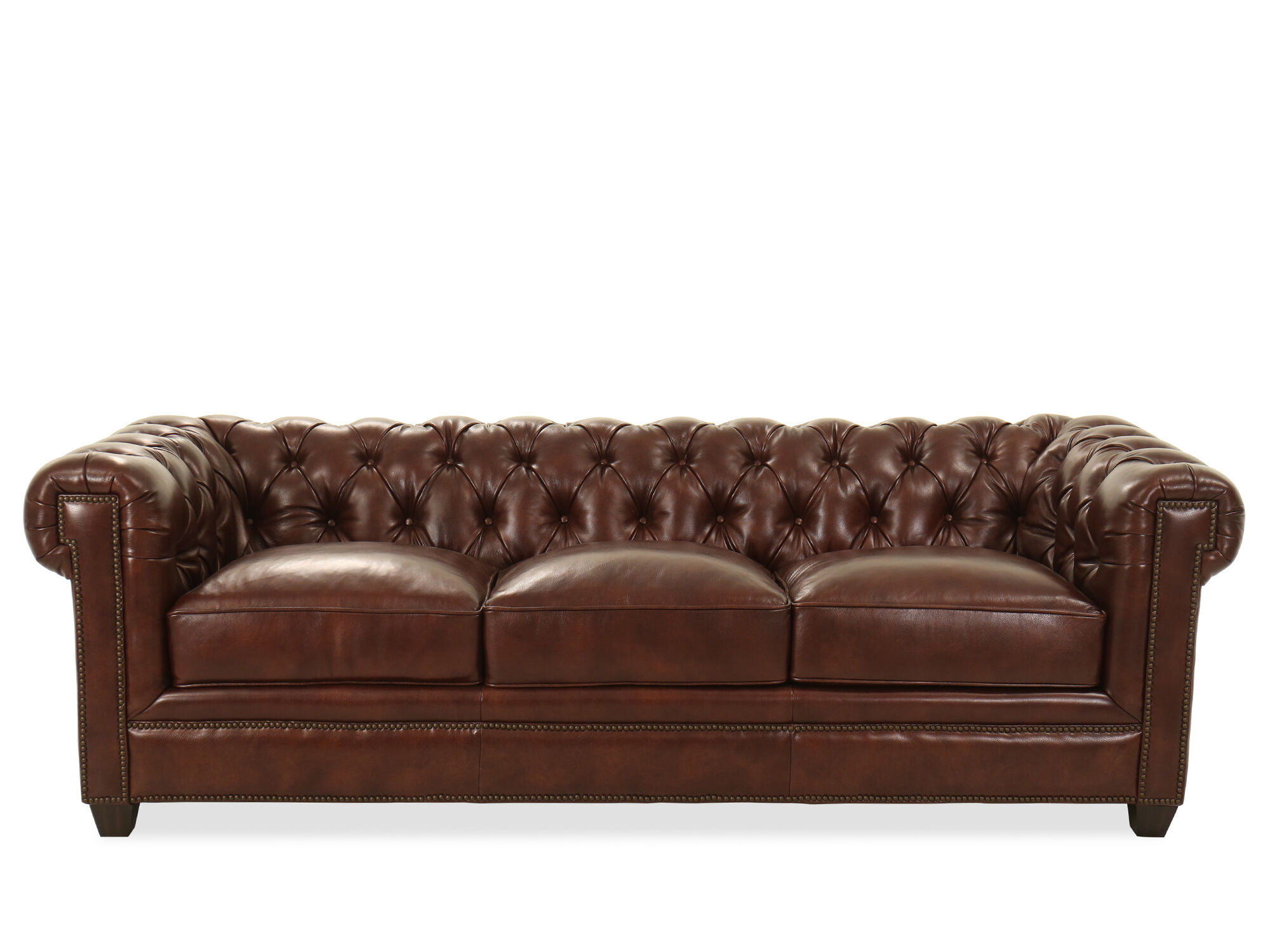 94 Tufted Leather Chesterfield Sofa In Milano Fudge