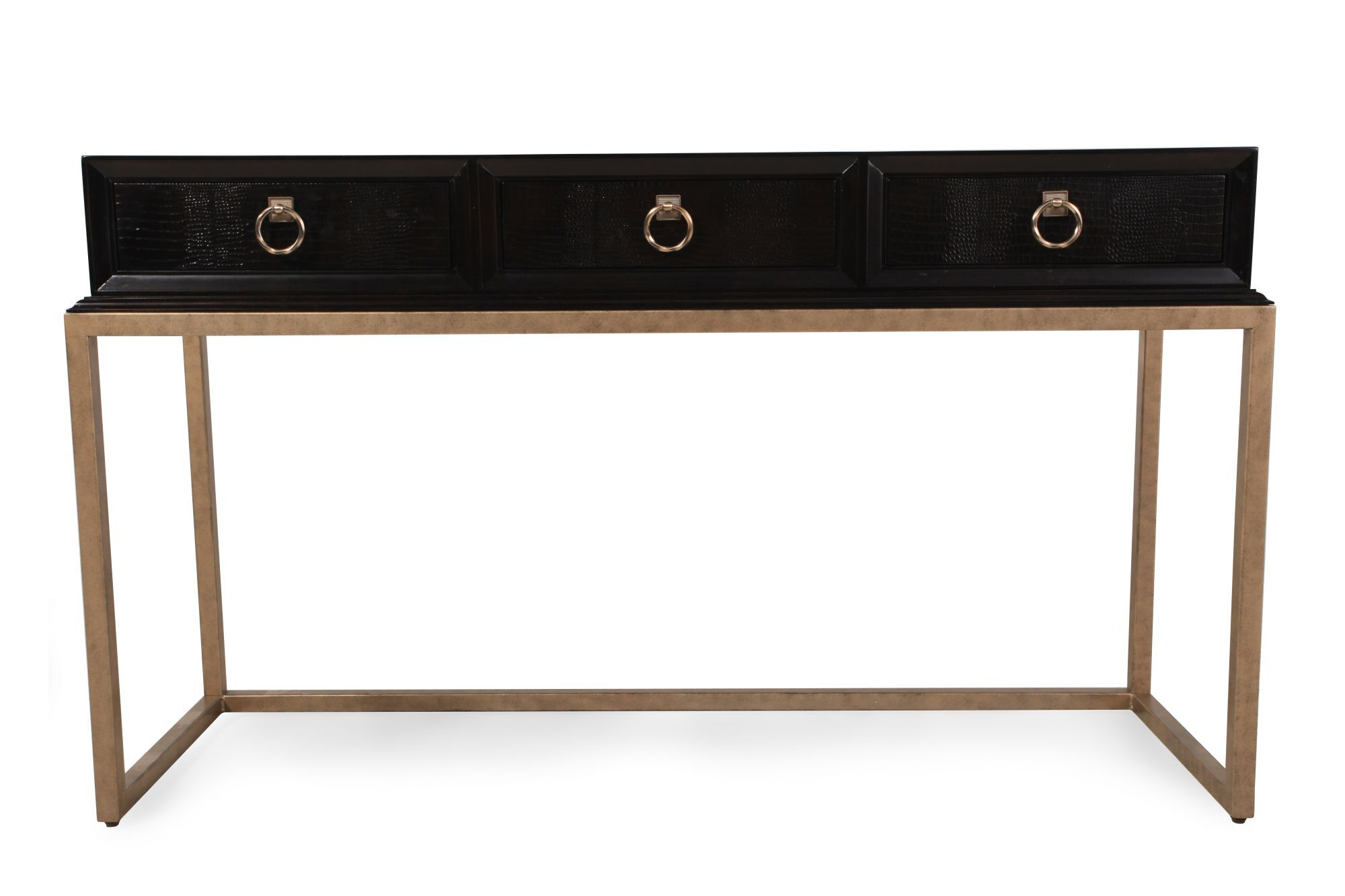 Rose Gold Ring Pull Contemporary Console Table In Dark