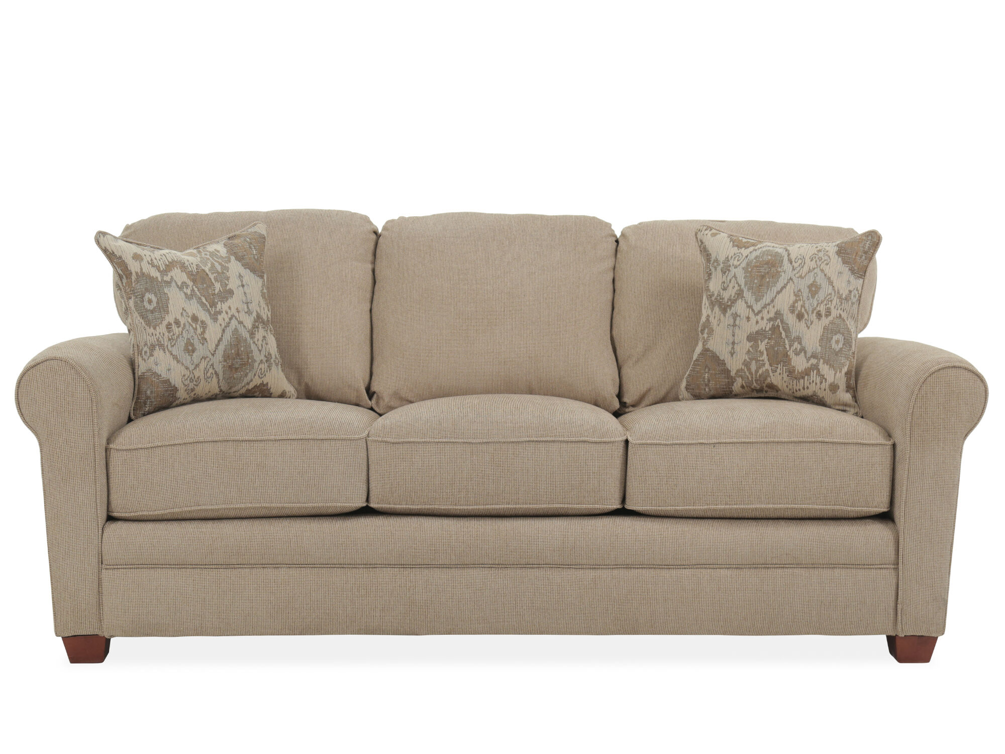 Roll Arm Transitional 84 Queen Sleeper Sofa In Sand Mathis Brothers Furniture
