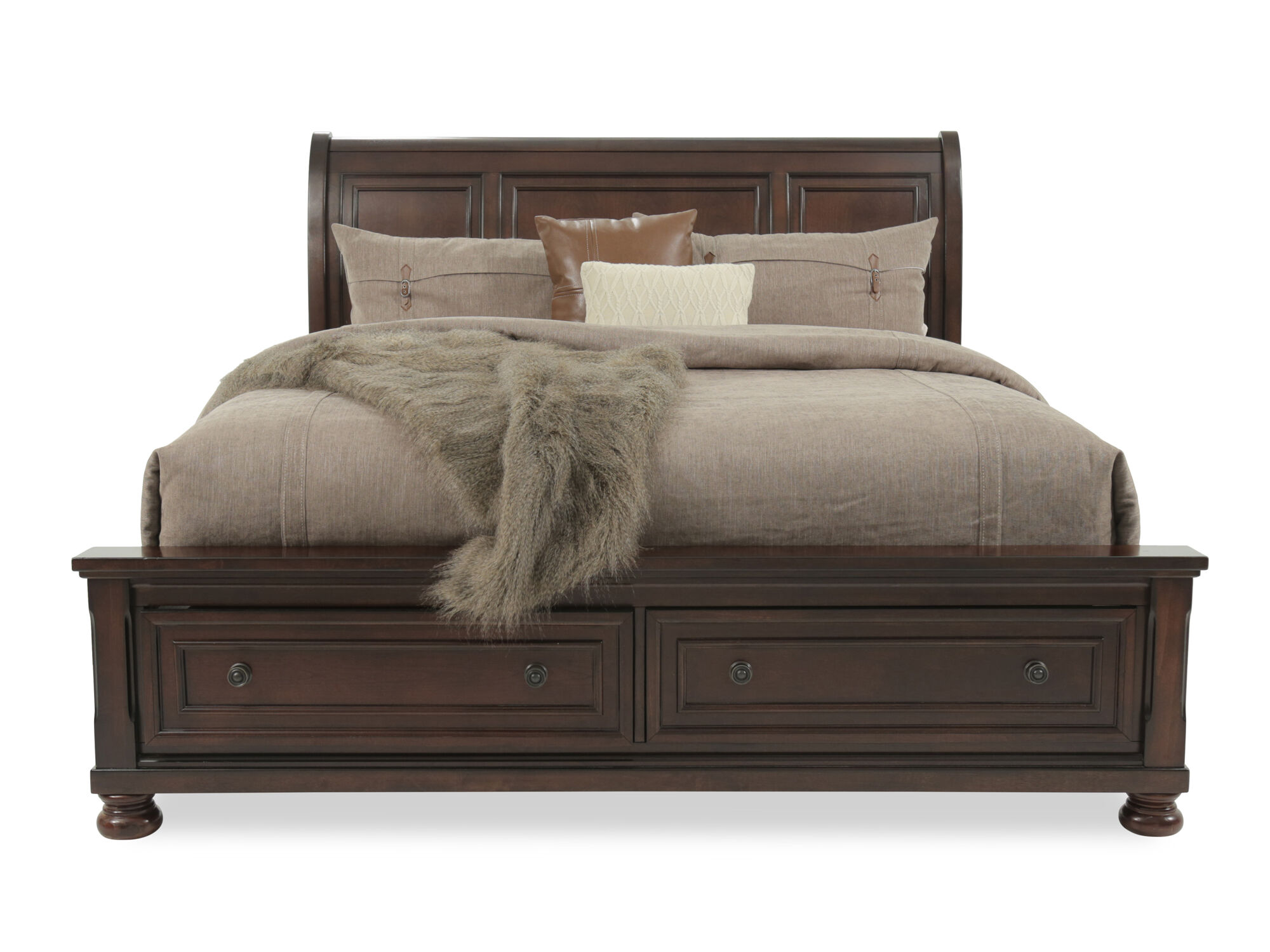 57 Traditional Beveled Sleigh Bed In Dark Brown Mathis Brothers