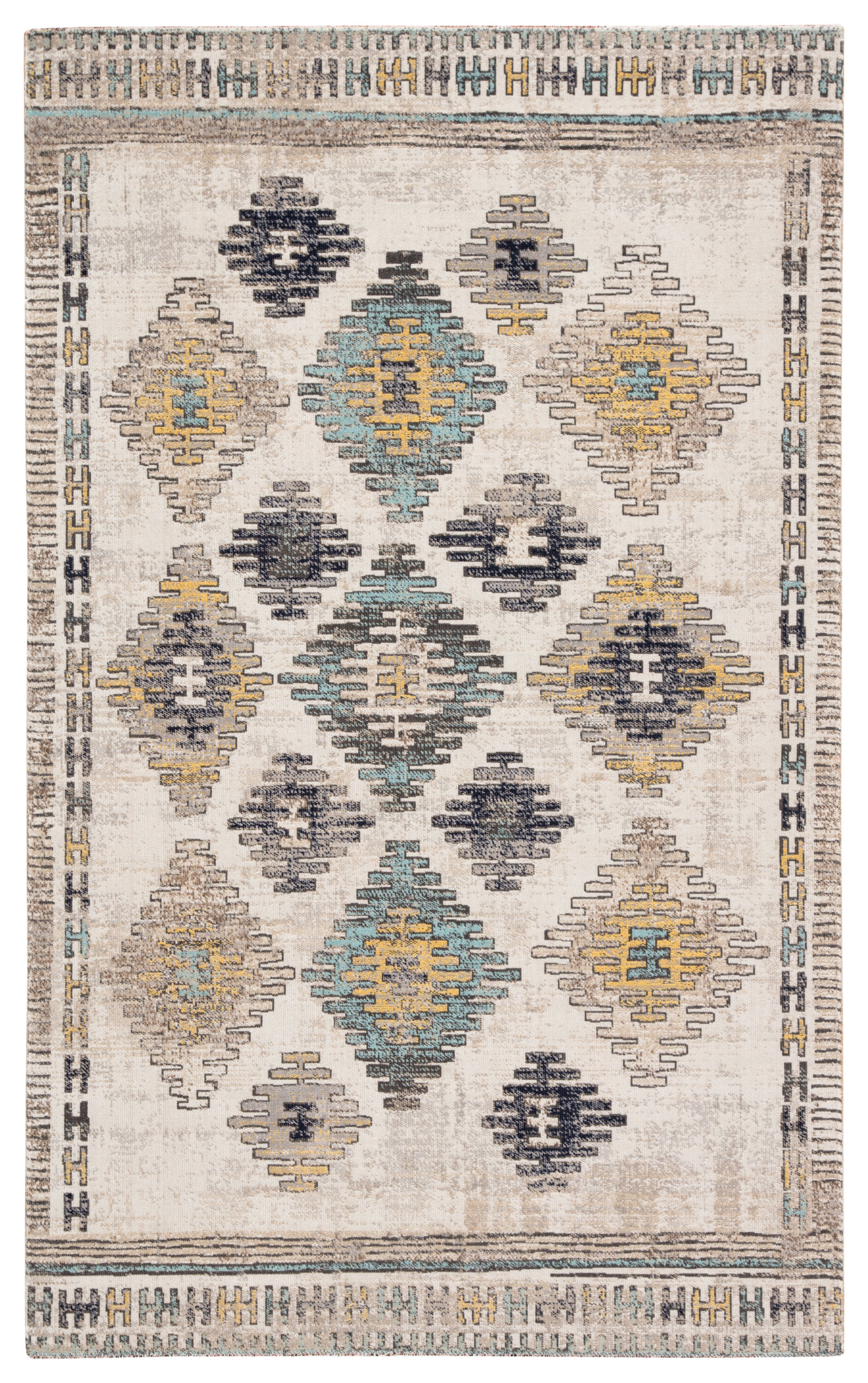 Dez Indoor Outdoor Tribal Blue Yellow Area Rug 5 3 X7 6 Mathis Brothers Furniture