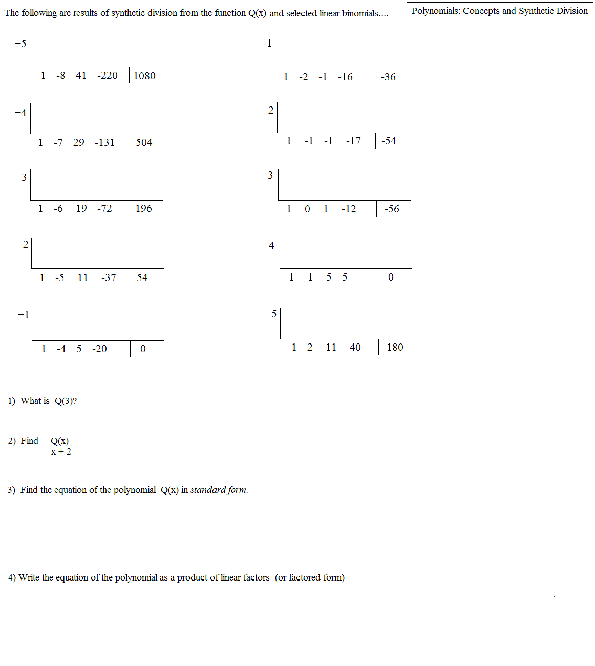 35 Synthetic Division Worksheet With Answers