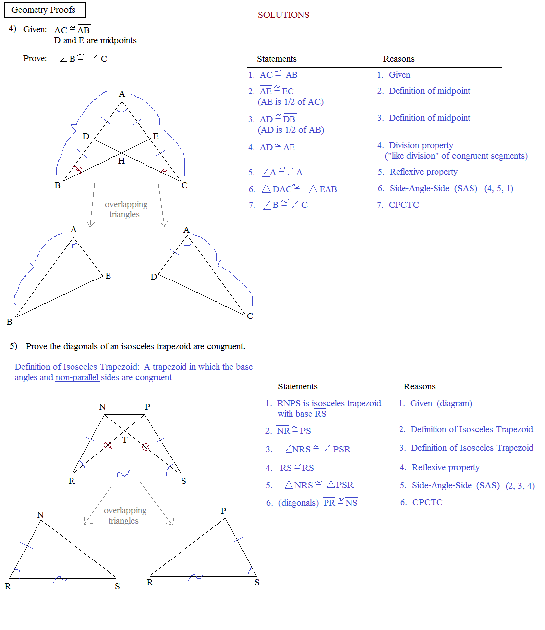 Proofs Involving Congruent Triangles Worksheet Answers