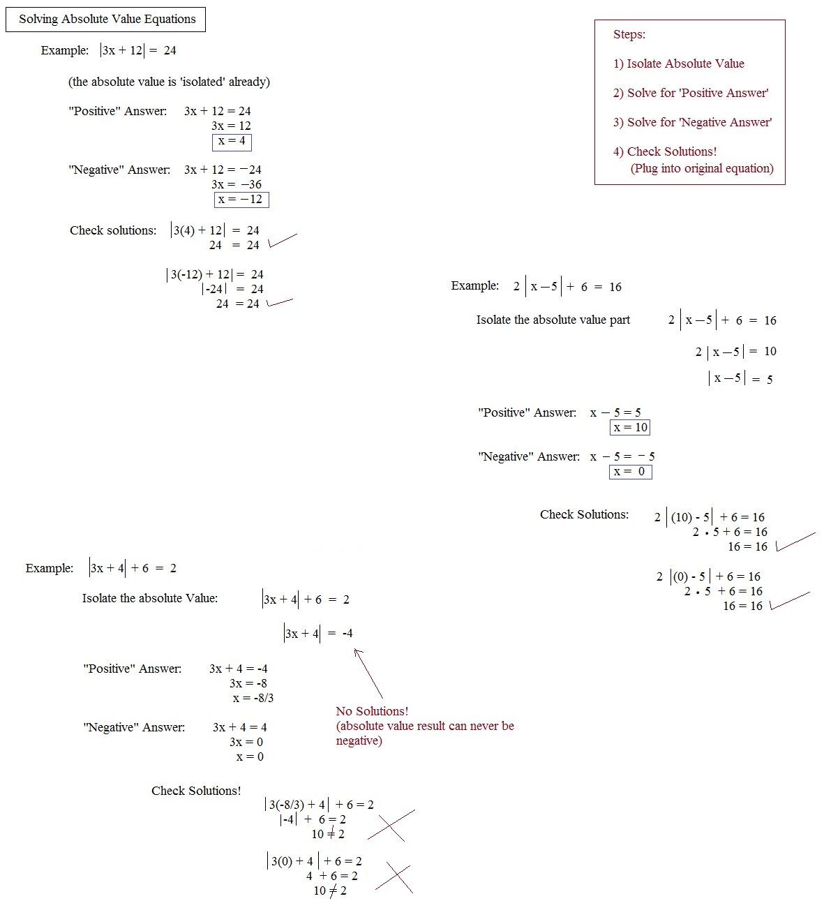 Algebra 2 Solving Absolute Value Equations Answers