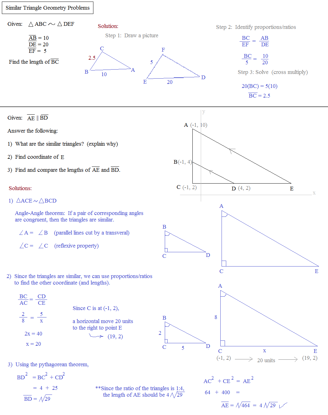 Theorems For Similar Triangles Worksheet Answers