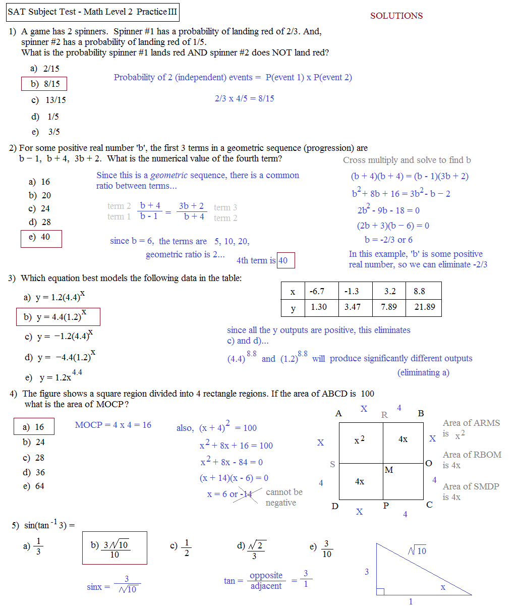 Sat Review Worksheets
