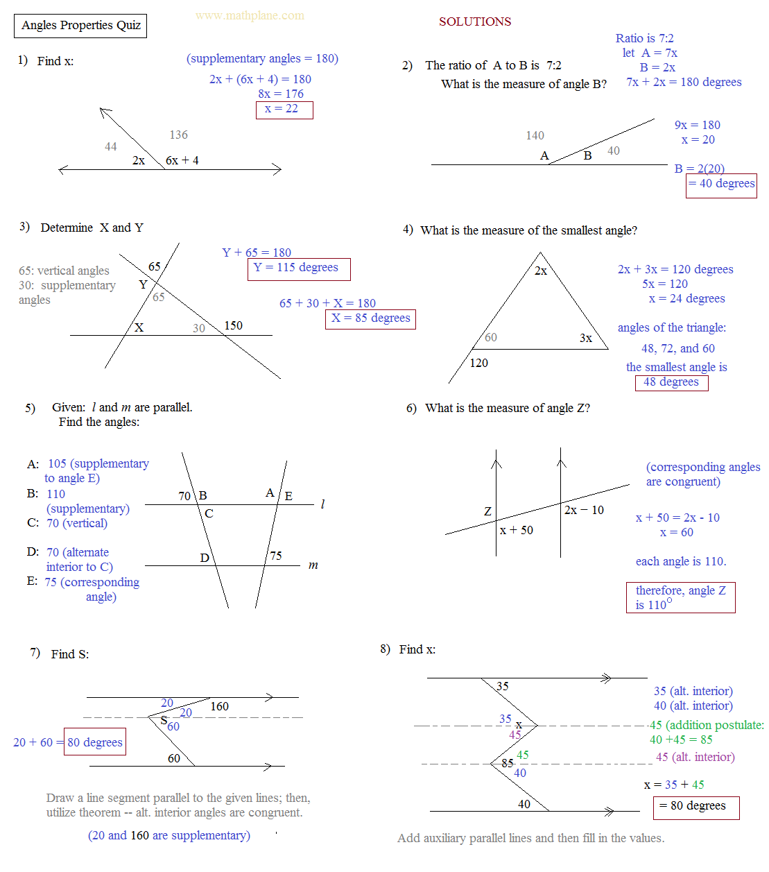 Worksheet Complementary And Supplementary Angles