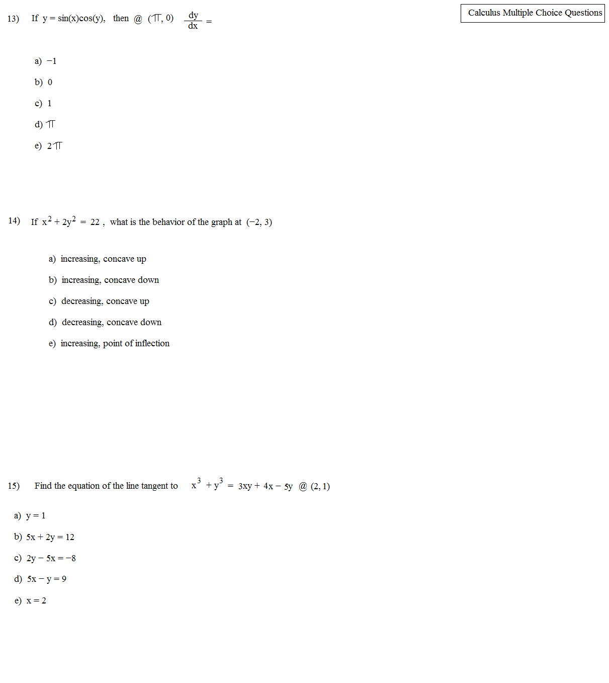 System Of Equations Test Multiple Choice