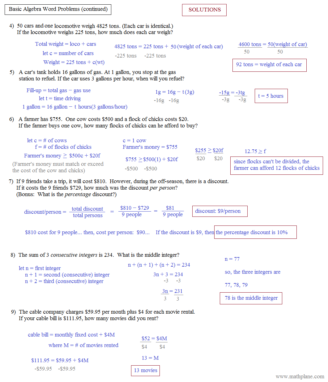 Linear Equation Word Problems With Answers