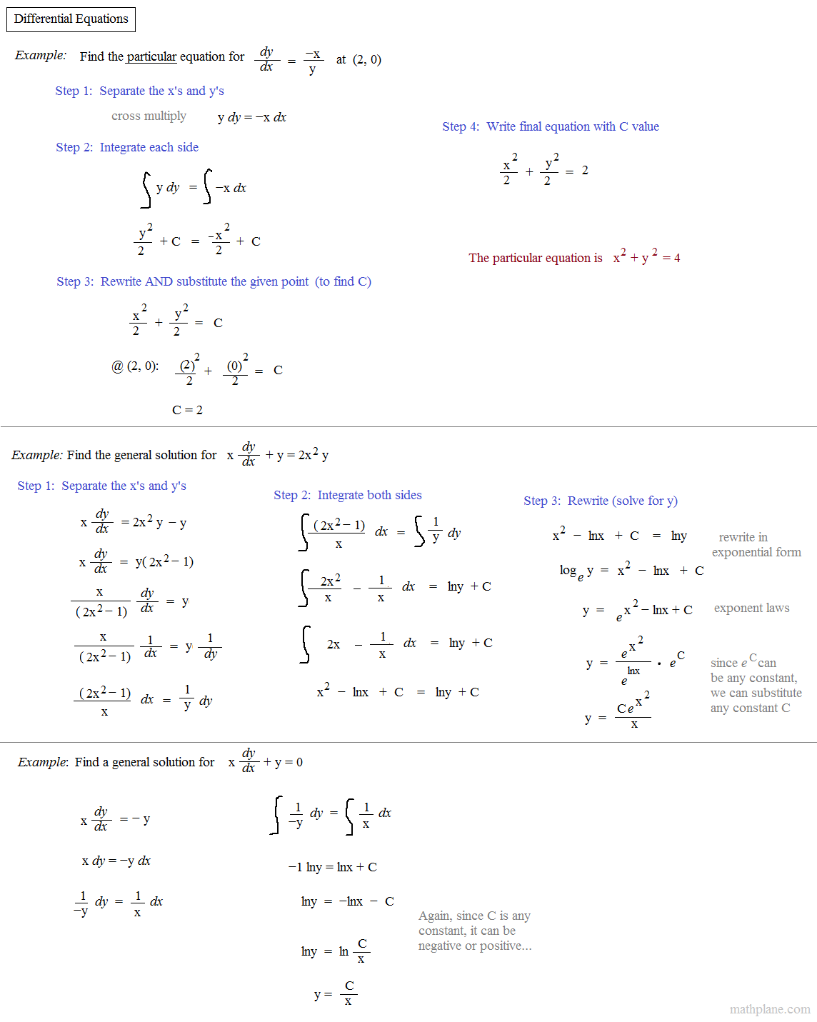 Separable Differential Equations Worksheet