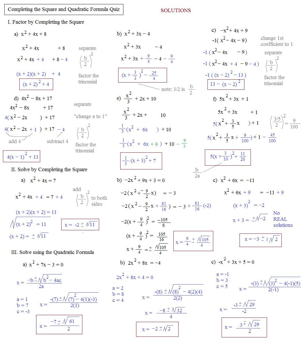 Quadratic Formula Worksheet Multiple Choice