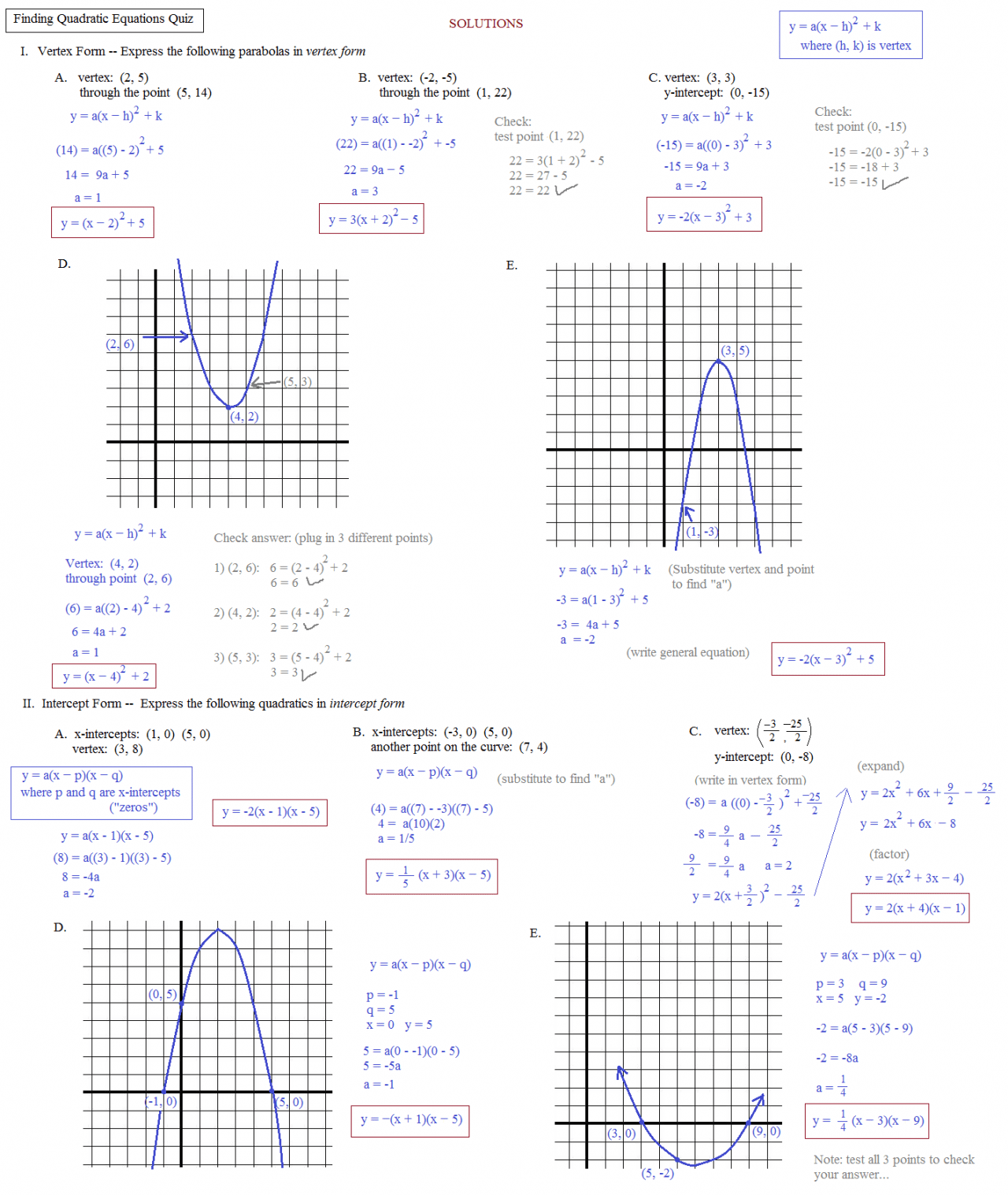 Easy Quadratic Graphs Worksheet