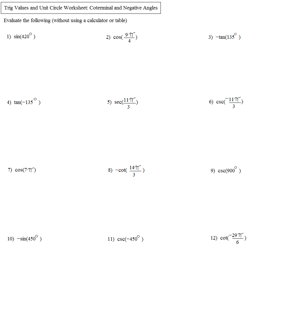 34 Trigonometry Unit Circle Worksheet Answers