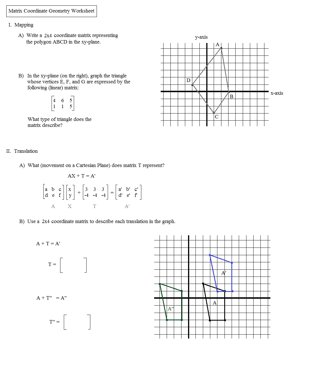 Kuta Worksheet On Transformations
