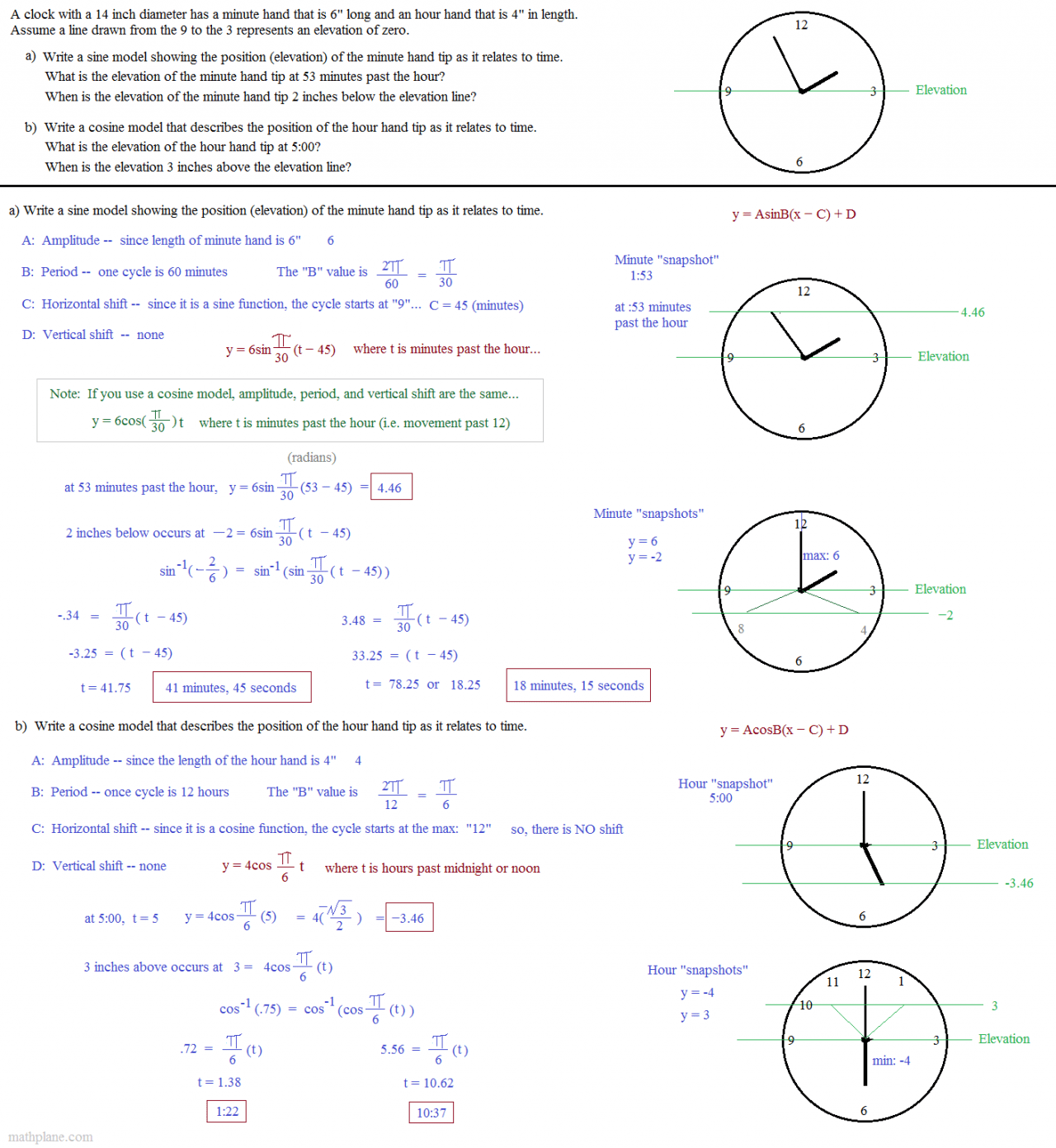 Trigonometric Functions Word Problems Worksheet With