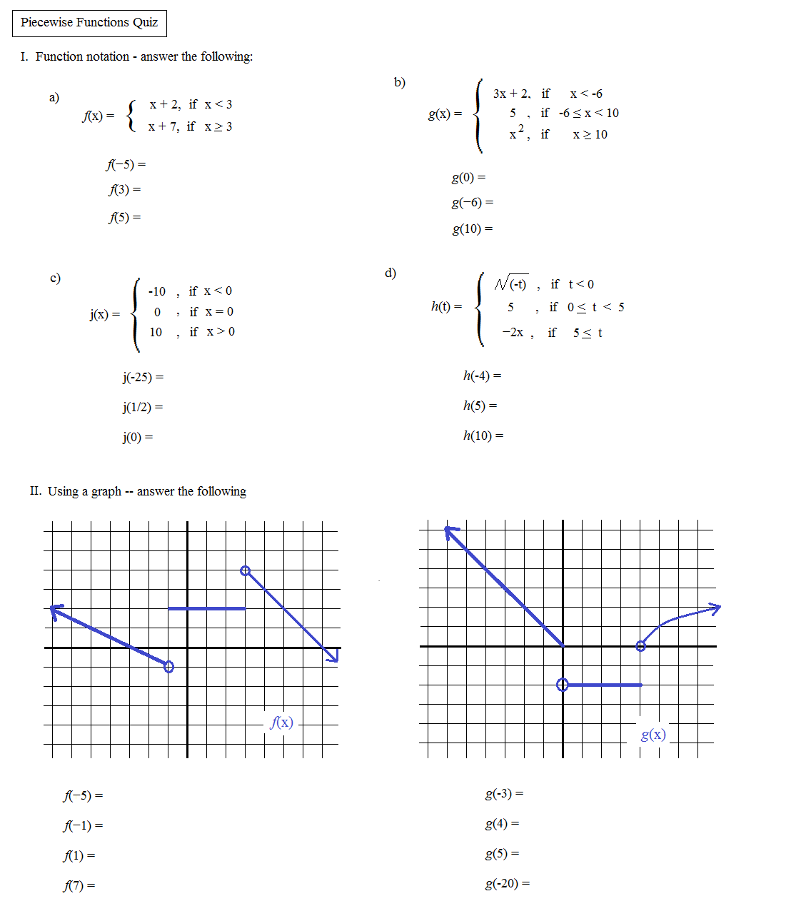Printables Of Piecewise Linear Functions Worksheet Answers