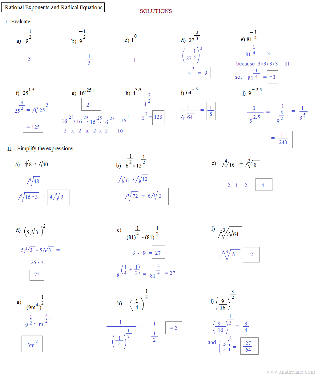 Simplifying Rational Exponents Practice Worksheet