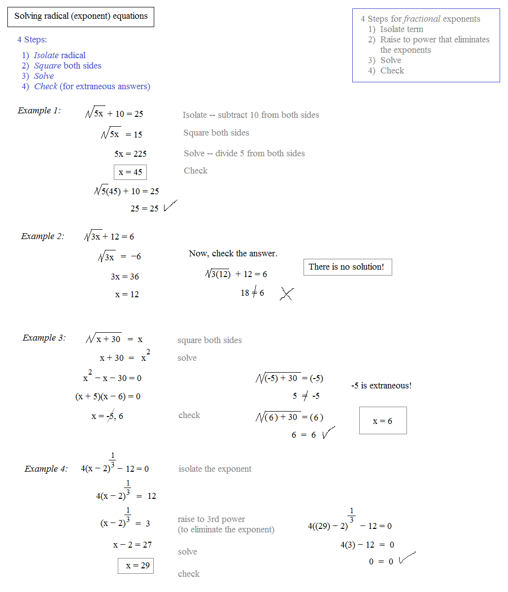 Solving Rational Exponents Equations Worksheet