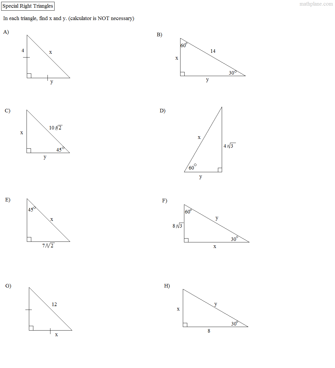 Beautiful Special Right Triangles 45 45 90 Practice