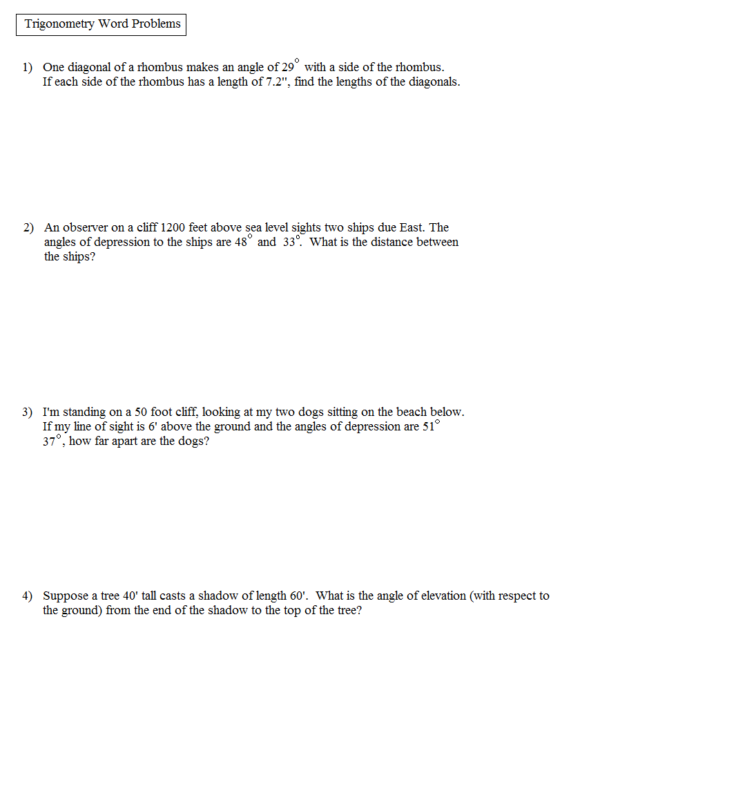 31 Right Triangle Word Problems Worksheet
